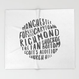 Richmond Neighborhoods (Black + White) Throw Blanket