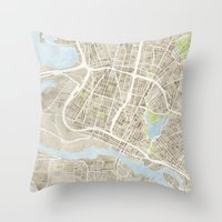 oakland Throw Pillows featuring Oakland California Watercolor Map by Anne E. McGraw