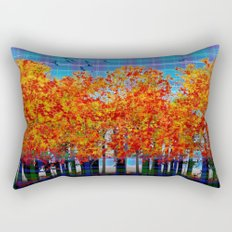 Fall Leaves On Plaid Rectangular Pillow