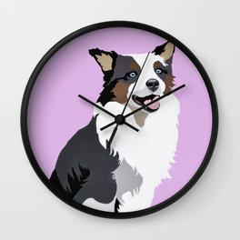 Woof on lavender Wall Clock