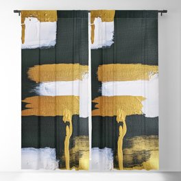 dark green, gold and white 2 Blackout Curtain