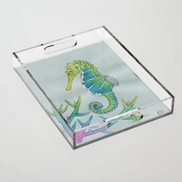 Neon Seahorse Acrylic Tray