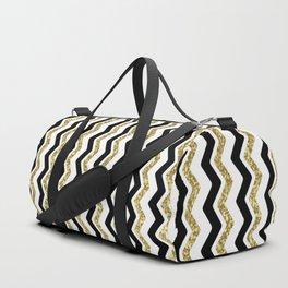 Black Gold White ZigZag Pattern 1 Duffle Bag