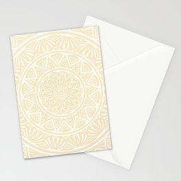 Pale Yellow Simple Simplistic Mandala Design Ethnic Tribal Pattern Stationery Cards