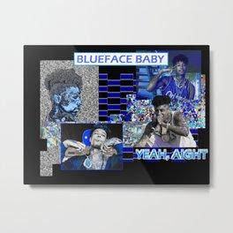 Blueface Glitch Design Metal Print