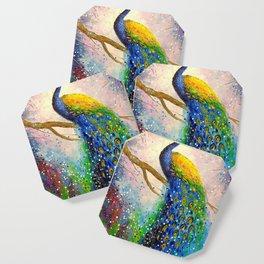 Gorgeous peacock Coaster