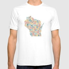Wisconsin by County White Mens Fitted Tee SMALL