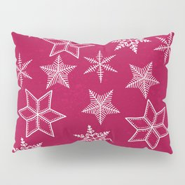 Snowflakes on red background Pillow Sham