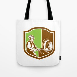 Baker Peel Bread Pan Shield Retro Tote Bag