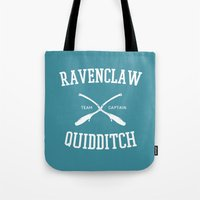 ravenclaw Tote Bags featuring Hogwarts Quidditch Team: Ravenclaw by IA Apparel
