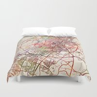 austin Duvet Covers featuring Austin by MapMapMaps.Watercolors