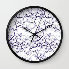 Abstract navy blue gray lavender floral illustration Wall Clock