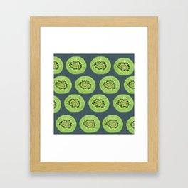 Kiwi pattern home decor interior design minimal cement polka dots graphite gray Framed Art Print