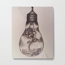 Rose Lightbulb Metal Print