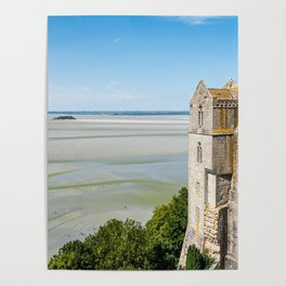 Mont Saint-Michel and the bay at low tide Poster