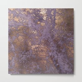 Purple and Copper Glamour Ink  Marble Texture Metal Print
