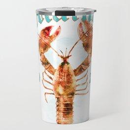 Vintage Maine Bicentennial 200 Years Lobster Watercolor Travel Mug