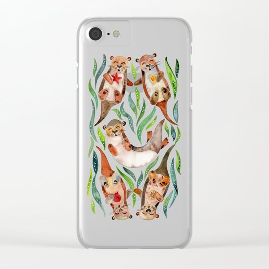 Five Otters – Green Seaweed Clear iPhone Case
