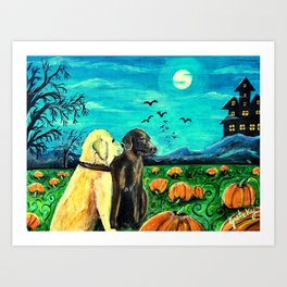 Dogs in Pumpkin Patch Art Print