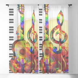 Colorful  music instruments painting, guitar, treble clef, piano, musical notes, flying birds Sheer Curtain