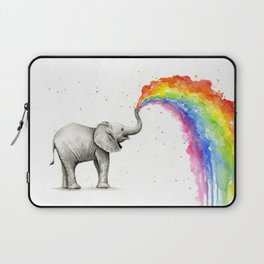 Rainbow Baby Elephant Laptop Sleeve