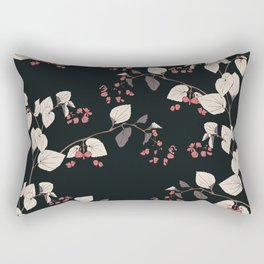Branches of begonia with flowers and leaves on a black background. Vector seamless pattern. Rectangular Pillow