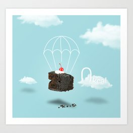Isolated Chocolate cherry cake with parachute on blue sky background Art Print