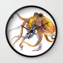 Octopus, orange red gold underwater scene octopus lover design, beach Wall Clock