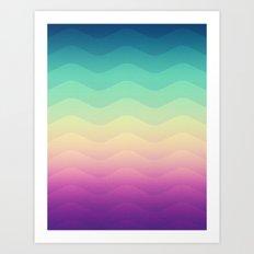 Abstract Geometric Rainbow Waves Pattern (Multi Color) Art Print