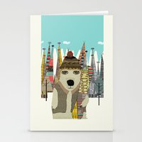 snowboarding Stationery Cards featuring murphy by bri.buckley