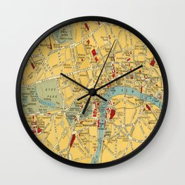 Vintage map of Central London Wall Clock