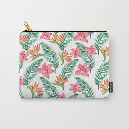 Pink watercolor orchid orange bird of paradise floral Carry-All Pouch
