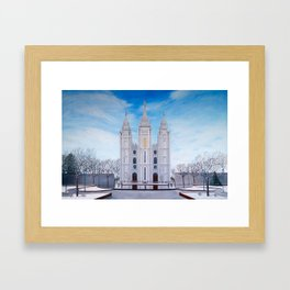 Winter Temple in Salt Lake City, Utah Framed Art Print