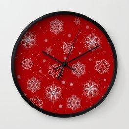 Silver snowflakes Wall Clock