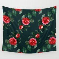 floral pattern Wall Tapestries featuring Floral Pattern by Heart of Hearts Designs
