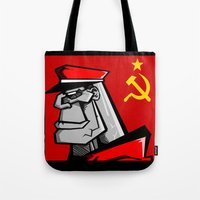 russia Tote Bags featuring For Russia by Dangerous Monkey
