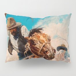 """N C Wyeth Vintage Western Painting """"Cutting Out"""" Pillow Sham"""