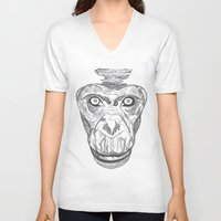 ape V-neck T-shirts featuring Ape by Eugene Lee