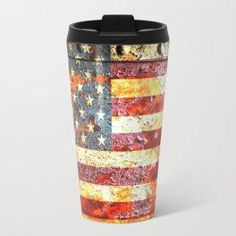 American Flag On Rusted Riveted Metal Door Travel Mug