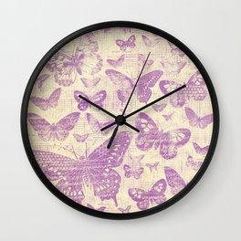 purple, vintage, butterflies, parchment Wall Clock