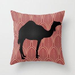 Art deco camel Throw Pillow