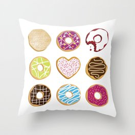 Donut Worry Eat Happy Throw Pillow
