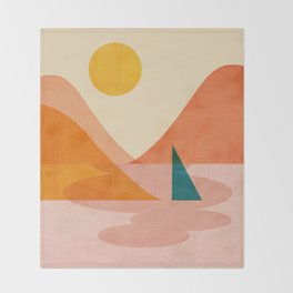 Abstraction_Lake_Sunset Throw Blanket