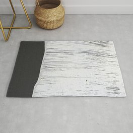 Scratched White Plaster and Charcoal Grey Lined Pattern Rug