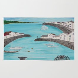 Harbour & sea view with distant hills Rug