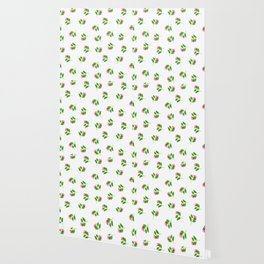 Hand painted pink green watercolor hand painted floral Wallpaper