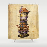 hat Shower Curtains featuring Hat Stack by Emily Brand