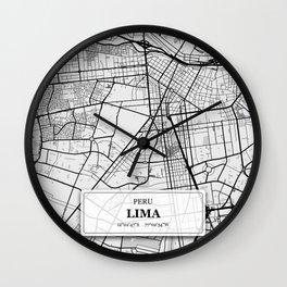 Lima Peru City Map with GPS Coordinates Wall Clock