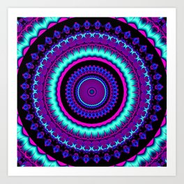 turquoise purple Mandala Art Print