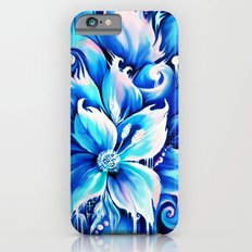 Blue abstract floral painting.  Slim Case iPhone 6